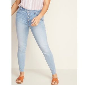 NWT Mid rise button fly raw hem ankle jeans